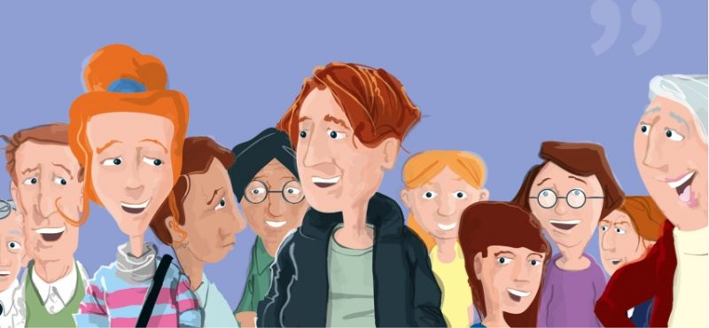 cartoon of people in a crowd