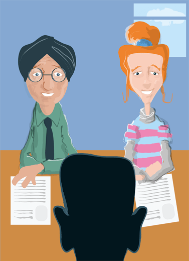 Person at interview for a job with ARC Scotland